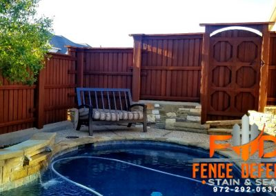 Backyard Patio Fence Stained