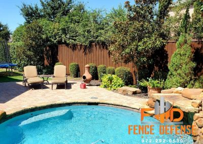 Beautiful Stained Fence By Pool