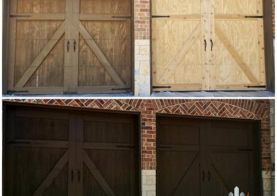 Garage Door Staining Before and After