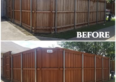 Stained Wood Fences Before and After