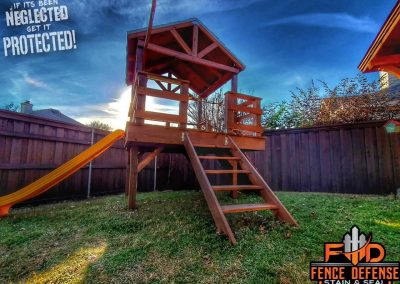 Staining Playset in Plano, Texas